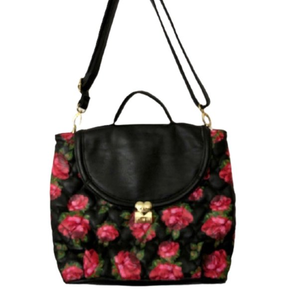 Betsey Johnson Quilted Hearts/Rose Convertible Bag